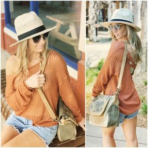 ✨RESTOCKED✨Rust Open Knit Spring Sweater